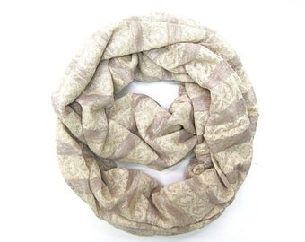 Striped Scarf, Cream Scarf, Eternity Scarf, Infinity Scarf, Tube Scarf, Girlfriend Gift, Under 10 Dollars, Gift for Her, Ready to Ship