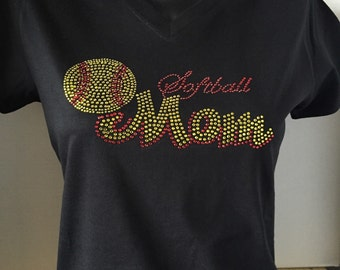 Softball Mom Red Script Bling Tee