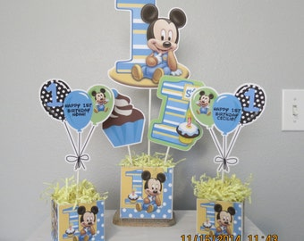 Baby Mickey's 1st Birthday Centerpiece (3 Piece)