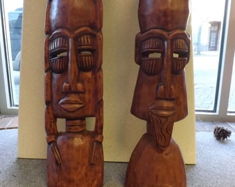 Vintage Pair of Wooden Tribal Masks-Use coupon for 50% Off