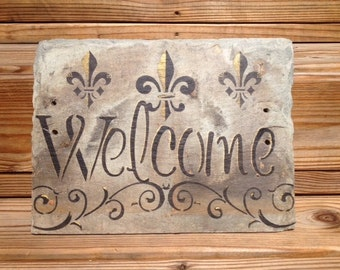 Welcome Sign on Recycled New Orleans Roofing Slate