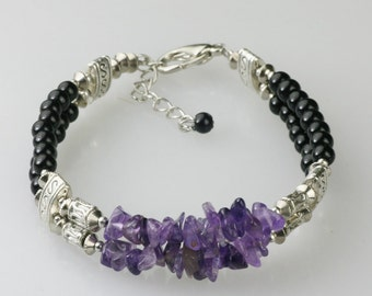 Amethyst chips double strand Bracelet bridesmaids gifts Free US Shipping handmade Anni Designs