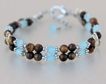 Beaded tigers eye stone turquoise layered bracelet Bridesmaids gifts Free US Shipping handmade Anni Designs