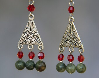 Green red stone dangle drop earrings Bridesmaid gifts Free US Shipping handmade Anni designs