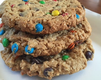 Mega Monster Cookies-1 dozen-oatmeal, peanut butter, chocolate chip and M&M candy pieces