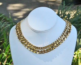 Vendome double chain gold tone necklace