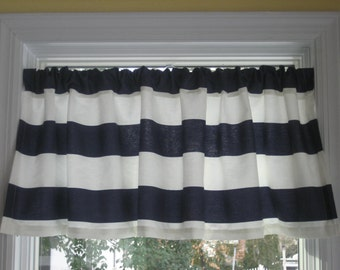 "Nautical Horizontal Stripe - Curtain Valance - Navy Blue and White Cabana - 3"" Stripes - Window treatments - Beach"