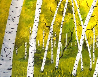 love, greeting card, fantasy art, aspen tree art, blank card