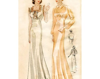 1930s Style Bias Cut Glamourous Gathered Bust Night Gown Dress Custom Made in Your Size From a Vintage Pattern