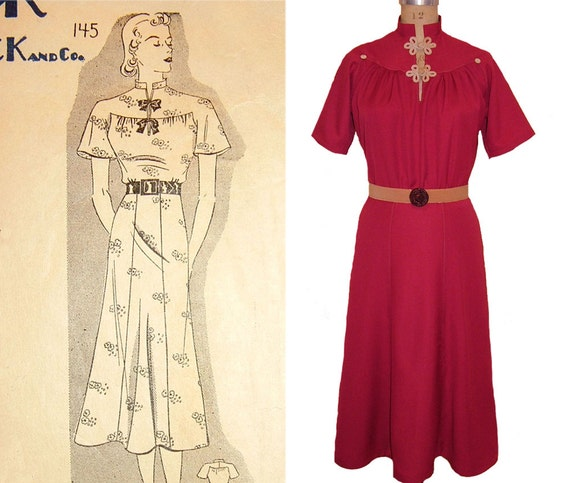 1930s Dresses, Clothing & Patterns Links 1930s Style Mandarin Collar Raglan Sleeve Dress Custom Made in Your Size from a Vintage Pattern $195.00 AT vintagedancer.com