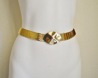 Vintage Gold Metallic Fish Scale Stretch Belt  Oval Clasp Small / Medium