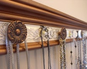 "Wall necklace holder with 9 decorative cabinet knobs metallic copper finish & champagne  26"" long wall rack Great gift of jewelry storage"