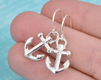 Sterling Silver Anchor Earrings - Anchor Jewelry - Silver Anchor Dangle Earrings - Nautical Jewelry - Sterling Danlge Earrings