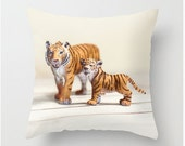 Tiger Pillow Safari Animals Jungle Animals Stripes Mother and Baby Orange Black Love Family Nursery Pillow Bedroom Decor