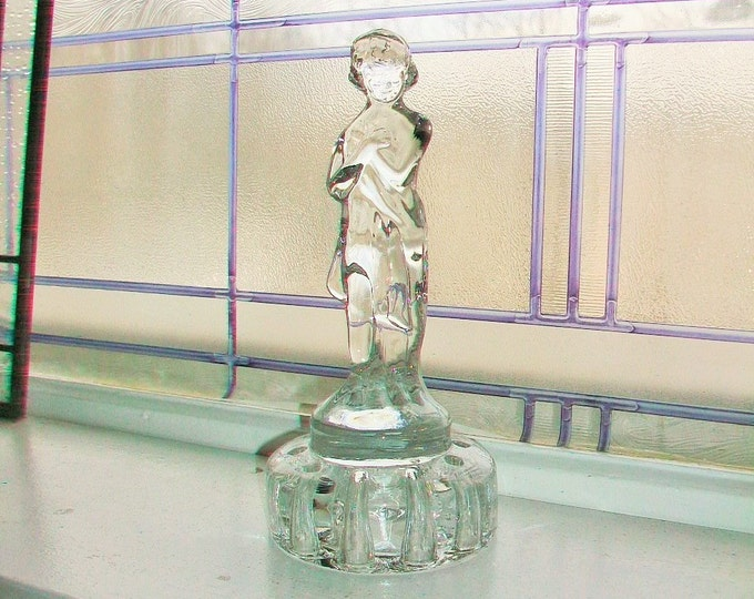 Cambridge Glass Draped Lady Flower Frog Vintage 1930s Clear Glass