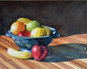 Watercolor ORIGINAL Fresh Fruit  still life, fruit, table, apple, banana, orange, lemon, colander