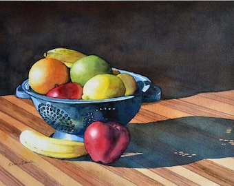 Watercolor ORIGINAL Fresh Fruit  still life, fruit, table, apple, banana, orange, lemon, colander