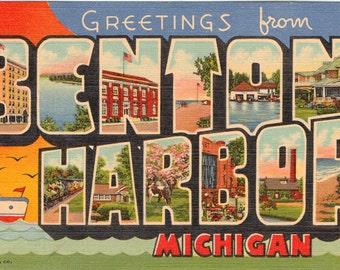 Linen Postcard, Greetings from Benton Harbor, Michigan, Large Letter, ca 1950