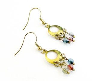 Tourmaline Chandelier Earrings, Bohemian Earrings, Raw Brass Dangle Earrings, Gemstone earrings