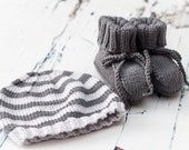 Hand Knit Baby Striped Beanie Hat and Booties Set -  Graphite & Grey -  handmade baby clothes, new baby gift, baby shower
