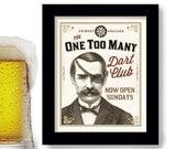 Dart Player Bar Sign Rec Room Pub Sign Dart Player Competition Darts English Pub Game Basement Bar Art Dart Board
