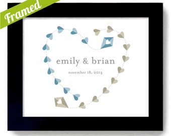 Personalized Wedding Framed Gift Wedding Gifts for Couples Kite Art Unique Engagement Present Heart Designs, Bride and Groom Mr and Mrs