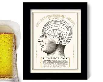 Phrenology Head Medical Art Tattoo Parlor Bar Sign Beer Art Office Decor Medical Student Goth Art Print Human Anatomy Man Cave