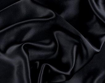 "42"" Wide Stretch Silk Charmeuse Black By the Yard"