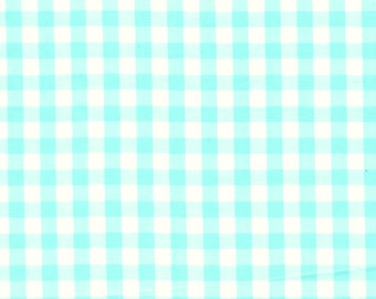 """60"""" Wide Gingham 1/4 Check Mint Green by the yard"""