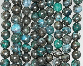 6mm Green Pyrite Inclusions Quartz Gemstone Grade AA Round Loose Beads 15.5 inch Full Strand (90188852-85)
