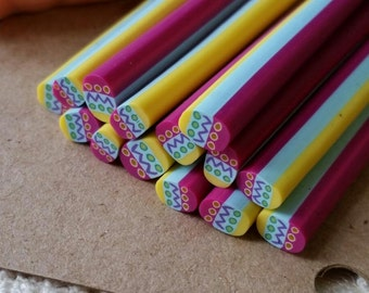 Fimo cane etsy 5 cm long polymer clay cane fimo cane stick miniature food dessert prinsesfo Choice Image