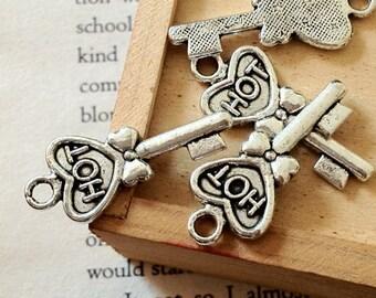 13 x 30 mm Tibetan Silver Key Charm Pendants