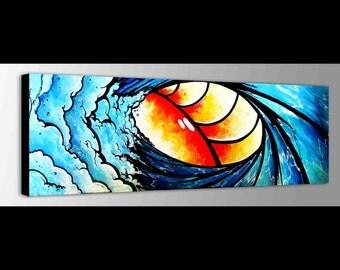 Wave Canvas | Surf Decor | Ocean waves | Children Art | Ocean Canvas | Fun Art | Bright Wall Art | Kids Room Decor | Sunrise Sunset Sea Art