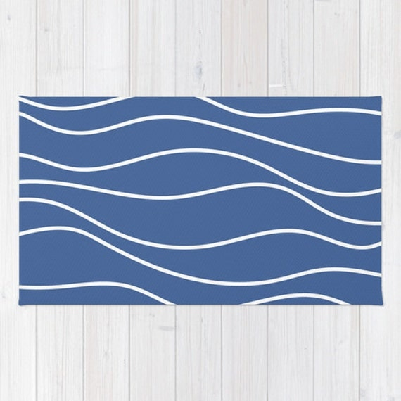 WOVEN AREA RUG Wavy White Lines Nautical Royal Blue by EMEREY
