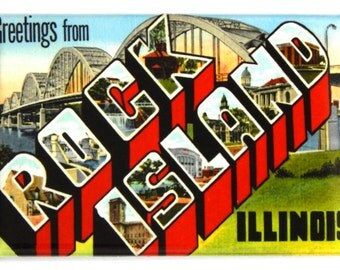 Greetings from Rock Island Illinois Fridge Magnet