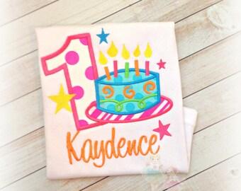 Birthday cake shirt - girls birthday shirt with neon birthday cake - bright rainbow birthday shirt- 1st birthday shirt with cake and candles