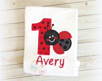 Ladybug Birthday Shirt - Ladybug first birthday outfit - 1st Birthday shirt - custom embroidered birthday shirt - ANY age