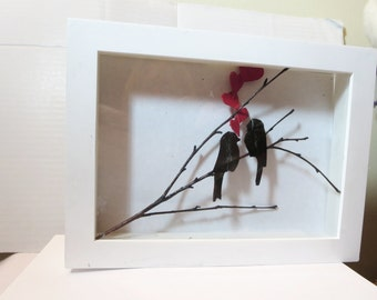 sale  valentines gift Birds on a tree- Leather cut Bird on Branch-shadowbox Love Birds home decoration - wedding gift