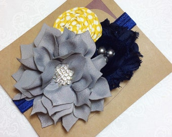 Navy blue mustard yellow gray grey headband girl headband  baby headbands handmade flower persnickety m2m matilda jane
