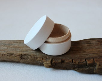 White wooden ring box / tiny round box / hand painted small box / natural wood ring bearer