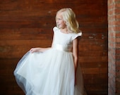 Flower Girl Dress : Pure silk and cotton flower girl dress in ivory or white with capped sleeves and full tulle and cotton skirt.