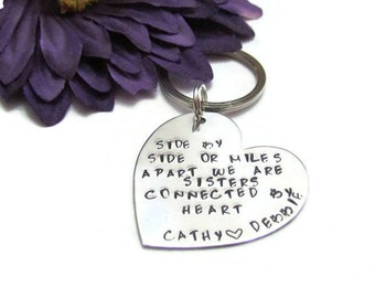 SISTERS MILES  APART - Silver Keychain - Personalized - Design  - Just Because- Gift for her - sister gifts -