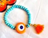 SALE -- TURKISH EVIL Eye Bracelets-Amulet -Bohemian  Style Turquoise Bracelet