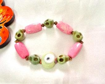 SALE-- SKULL And EVIL Eye Bracelet-Amulet- Bohemian Bracelet-Day oif the dead