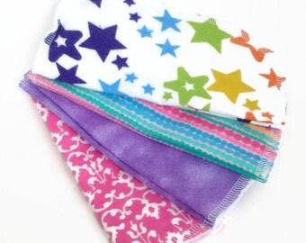 cloth wipes - set of 8, baby wipes, washcloths, pink baby wipes, girl washcloths, rainbow stars washcloths, pink orange print wipes,