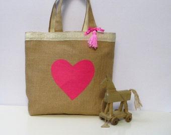 Handmade jute tote elegant bag applique pink heart decorated with cotton lace, unique, sporty chic,  light, roomy unique, city bag, stylish