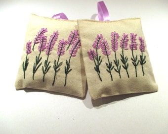 Lavender sachets gift set  with natural organic lavender buds, hand embroidered set  Christmas gift, Scented Drawer Sachets, home fragance