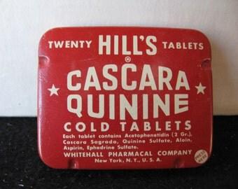 "Vintage HILL""S Quinine Cold Tablets ~ FULL"