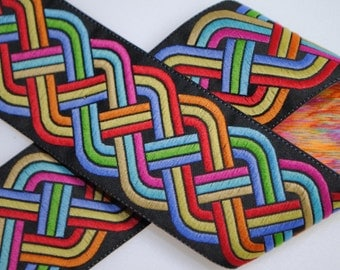 Celtic Knot Jacquard Trim 1.5 inches wide - Black and Multi - One, Two, Five, or Ten Yards