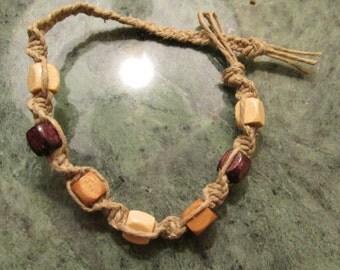 Hemp Bracelet Colorful Stained Wood Beads Macrame knots